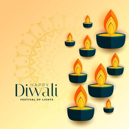 happy diwali flat style diya design background Vector Illustratie
