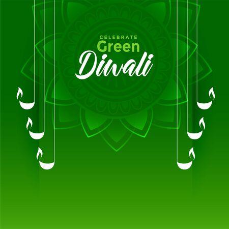 happy green diwali festival eco friendly background design Illustration