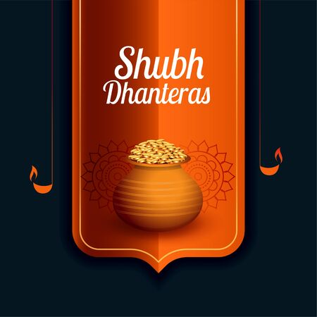shubh dhanteras festival card with gold coin kalash