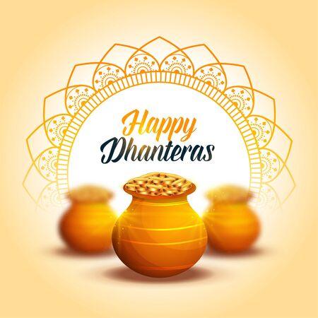 lovely happy dhanteras decorative festival card design