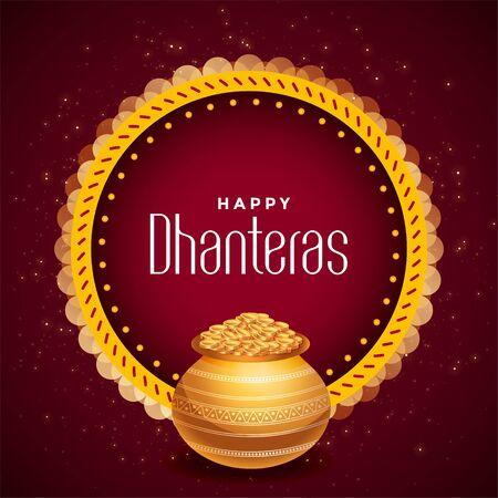 decorative happy dhanteras festival card with golden pot