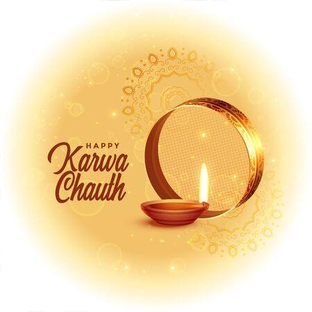 happy karwa chauth festival card with diya design Illustration