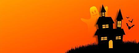 bannière orange halloweeb de style plat avec maison effrayante