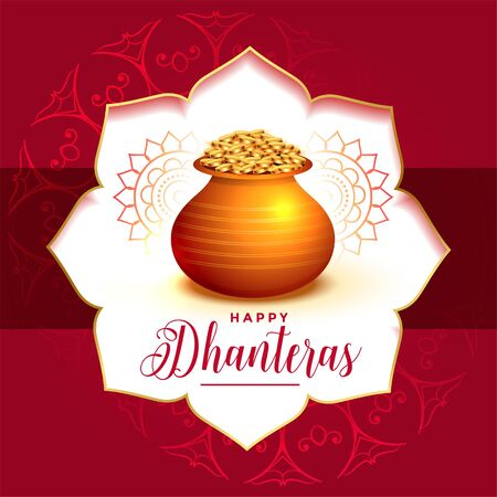 decorative festival card design for dhanteras day