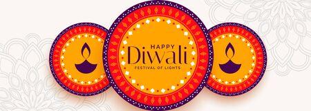 flat style happy diwali decorative banner design
