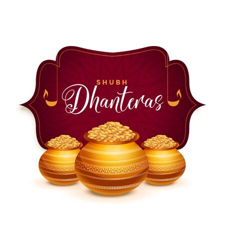 dhanteras festival greeting card with golden pot