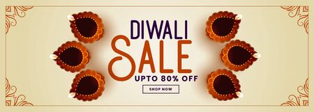 decorative happy diwali sale and promotion banner