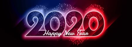 2020 happy new year shiny neon colorful banner design