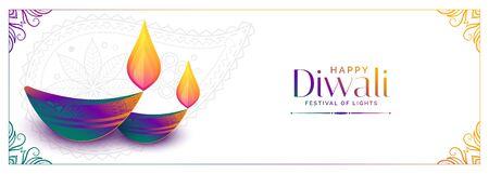 colorful diya design for happy diwali festival