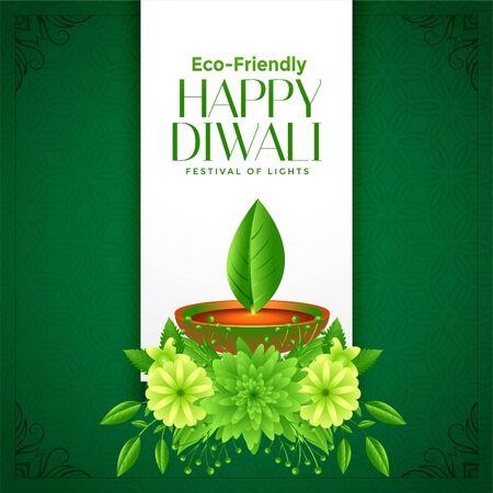 eco deepawali happy diwali concept background design