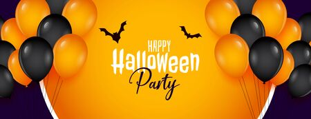 happy halloween party banner with balloons decoration Stockfoto - 131365355