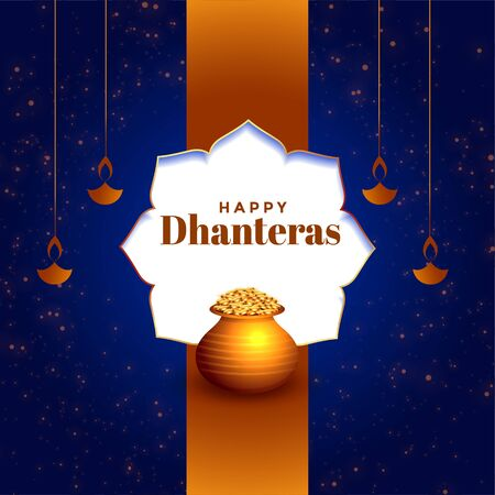 beautiful happy dhanteras festival card with golden pot Illustration