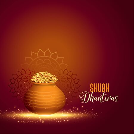 happy dhanteras hindu festival with golden coin pot Illustration