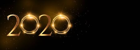 shiny 2020 happy new year golden wide banner  일러스트