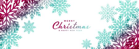 beautiful christmas snowflakes white wide banner design