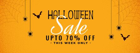 halloween yellow sale banner with spider and cobweb