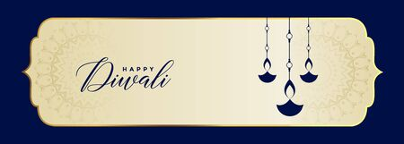 happy diwali festival banner in blue color design