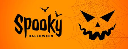spooky halloween scary banner with ghost face Stock Illustratie