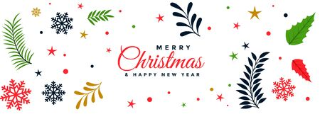 merry christmas decorative leaves festival banner design