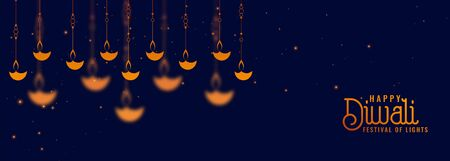 deepawali diya decoration on blue banner design