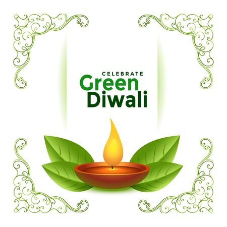 beautiful green diwali festival card concept design background