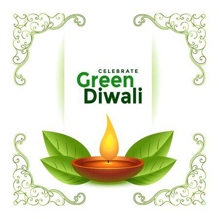 beautiful green diwali festival card concept design background