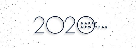 clean minimal 2020 happy new year white banner design  イラスト・ベクター素材