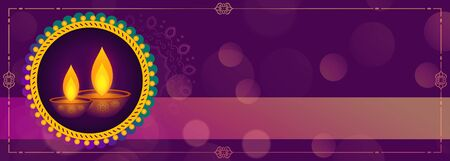 hindu festival of diwali purple banner design