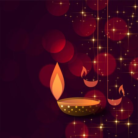 diwali concept background with diya lamps decoration Stock Illustratie