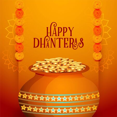 happy dhanteras indian festival card beautiful background Illustration