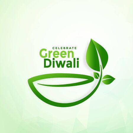 happy diwali creative green eco diya design background