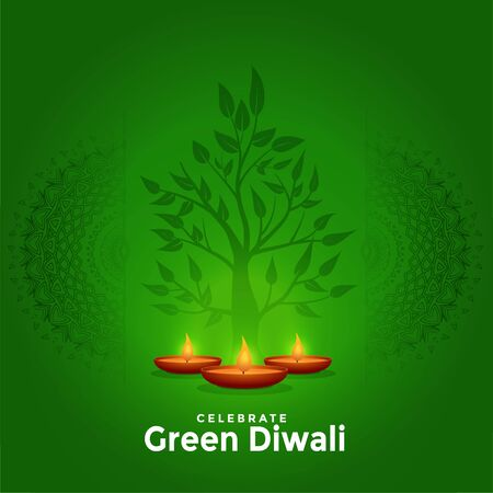 lovely green happy diwali creative greeting background design