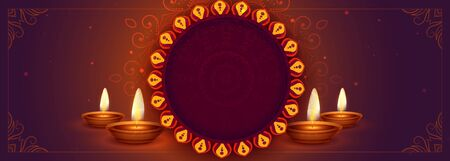 ethnic happy diwali banner with text space