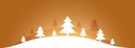 elegant christmas tree scene on golden background design  イラスト・ベクター素材