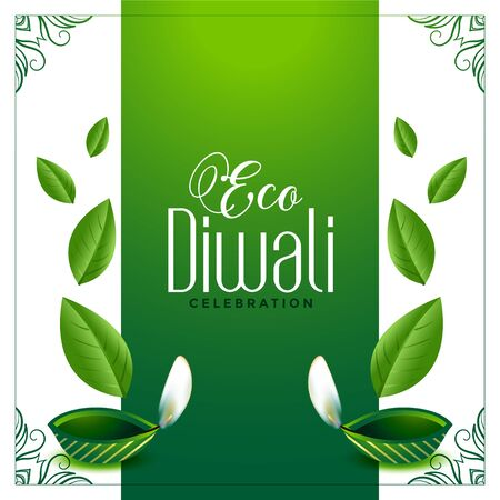 eco friendly green diwali concept background with leaves