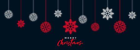 decorative dark christmas snowflakes festival banner design