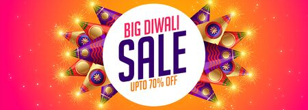 happy diwali sale banner with crackers design