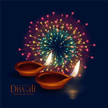 happy diwali celebration firework with diya lamp