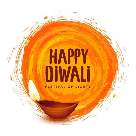 happy diwali orange watercolor festival background design Vector Illustratie