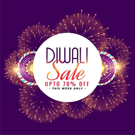 happy diwali sale celebration firework with crackers design