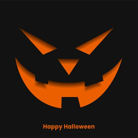 scary halloween ghost face in paper cut style background