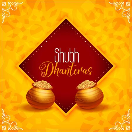 beautiful happy dhanteras yellow background with gold pot