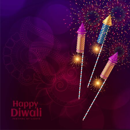 shiny diwali crackers firework celebration background design
