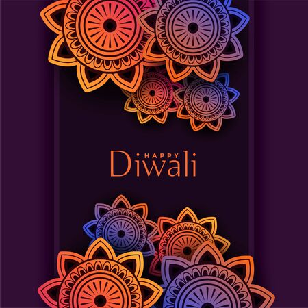 indian pattern happy diwali festival background design Illustration