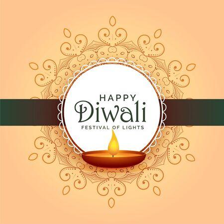 traditional indian happy diwali festival card design Illustration