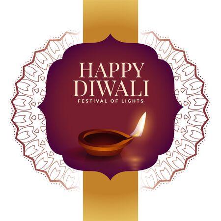 happy diwali creative background with indian style decoration Illustration