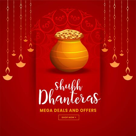 beautiful red happy dhanteras festival greeting background Illustration