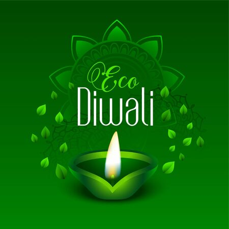 happy green eco diwali leaves background