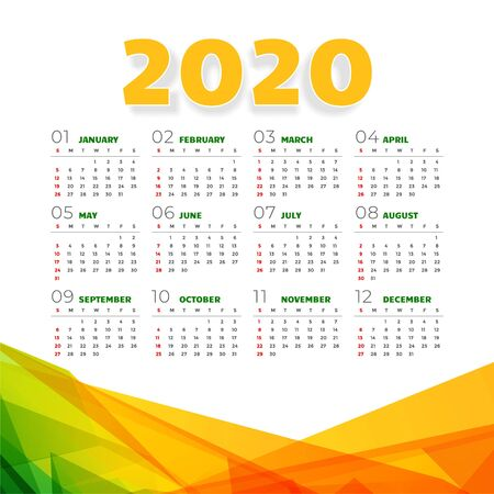 abstract 2020 calendar design in geometric style