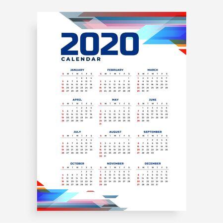 modern 2020 calendar design template